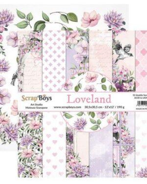ScrapBoys Loveland paperset 12 vl+cut out elements