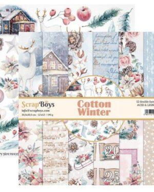 ScrapBoys Cotton Winter paperset 12 vl+cut out elements