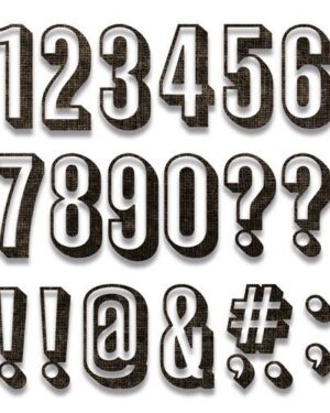 Sizzix Thinlits Die Set – Alphanumeric Shadow Numbers 21PK 664808 Tim Holtz