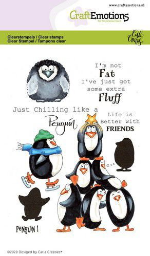 CraftEmotions clearstamps A6 – Penguin 1 Carla Creaties