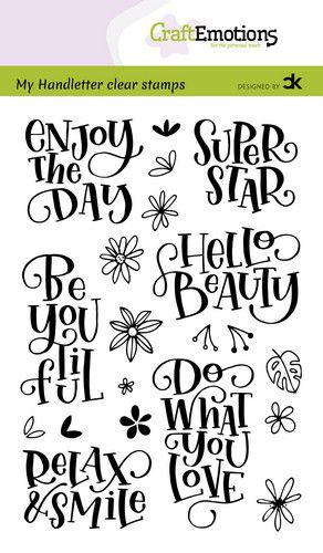 CraftEmotions clearstamps A6 – handletter – Enjoy the day – Super star Carla Kamphuis