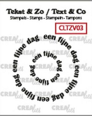 Crealies Clearstamp Tekst & Zo Rond: een fijne dag (NL) CLTZV03 20+39 mm