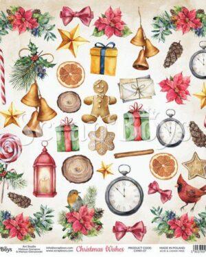 ScrapBoys Christmas Wishes paper cut out elements DZ CHWI-07 190gr 30,5 x 30,5cm