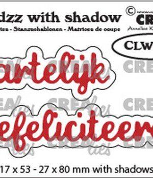 Crealies Wordzz with Shadow Hartelijk gefeliciteerd (NL) CLWZ01 22×85 mm