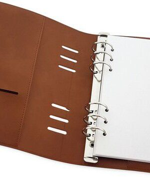 CraftEmotions Ringband Planner – 12 x 21 cm – Cognac bruin PU leather