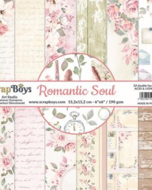 ScrapBoys Romantic Soul paperpad 24 vl+cut out elements-DZ ROSO-09 190gr 15,2 x 15,2cm