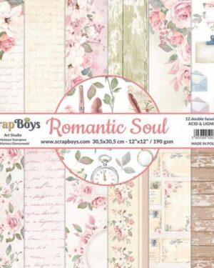 ScrapBoys Romantic Soul paperset 12 vl+cut out elements-DZ ROSO-08 190gr 30,5 x 30,5cm