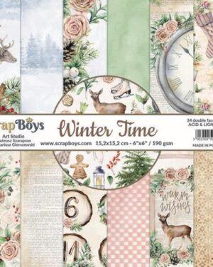 ScrapBoys Winter Time paperset 12 vl+cut out elements-DZ WITI-08 190gr 30,5 x 30,5cm