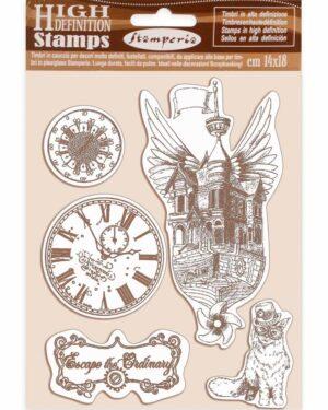 Stamperia Natural Rubber Stamp Lady Vagabond Flying Ship (WTKCC190)