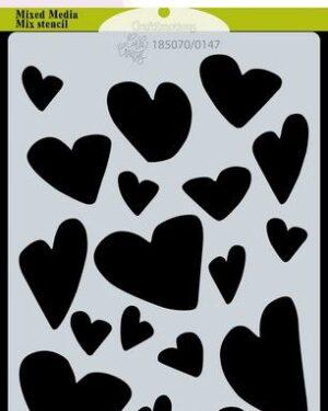 CraftEmotions Mask stencil Love Puns – harten A6 Carla Creaties