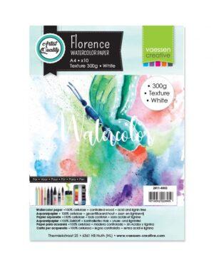 Florence • Aquarelpapier A4 texture White 300gr 10vellen