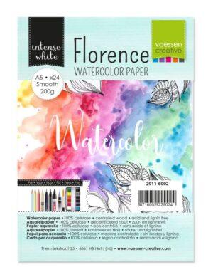 Florence • Aquarelpapier A5 smooth Intense White 200gr 24vellen