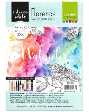 Florence • Aquarelpapier A4 smooth White 200gr 12vellen