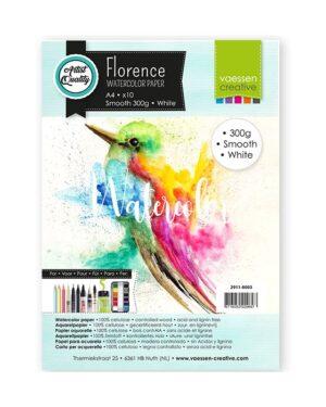 Florence • Aquarelpapier A4 smooth White 300gr 10vellen