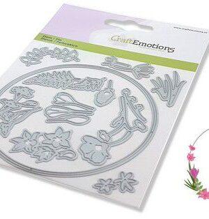 CraftEmotions Die – floral decoration rond Card 11x16cm 9,3cm