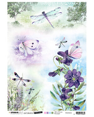 RICEJMA36 – JMA Rice Paper Butterflies & dragonflies Time to Relax 2.0 nr.36