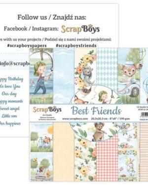 ScrapBoys Best Friends paperpad 12 vl+cut out elements-DZ BEFR-10 190gr 20,3×20,3cm