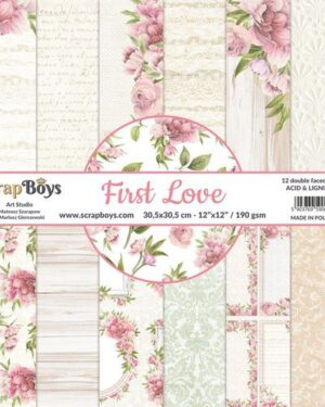 ScrapBoys First Love paperset 12 vl+cut out elements-DZ FILO-08 190gr 30,5×30,5cm