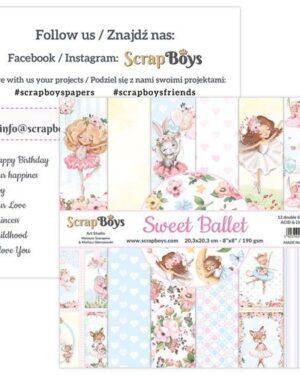 ScrapBoys Sweet Ballet paperpad 12 vl+cut out elements-DZ SWBA-10 190gr 20,3×20,3cm