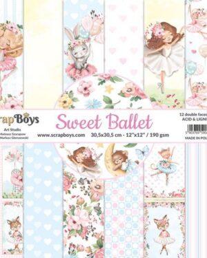 ScrapBoys Sweet Ballet paperset 12 vl+cut out elements-DZ SWBA-08 190gr 30,5×30,5cm