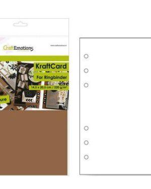 CraftEmotions karton kraft Ringband bruin 12 vel 14,5×20,5cm – 220 gr – 6 Ring A5