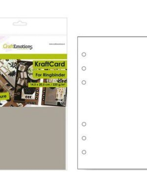 CraftEmotions karton kraft Ringband lichtbruin 12 vel 14,5×20,5cm – 220 gr – 6 Ring A5