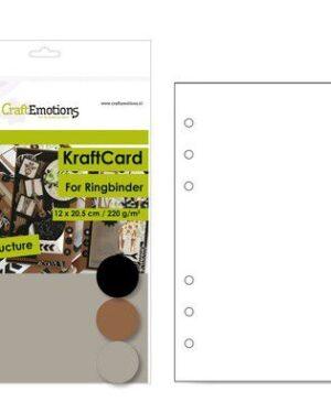CraftEmotions karton kraft Ringband mix 12 vel 14,5×20,5cm – 220 gr – 6 Ring A5