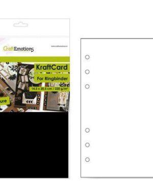CraftEmotions karton kraft Ringband zwart 12 vel 14,5×20,5cm – 220 gr – 6 Ring A5
