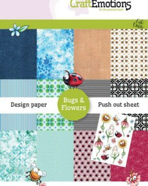 CraftEmotions Design Paper Bugs & flowers 12 vel + push out vel – A5