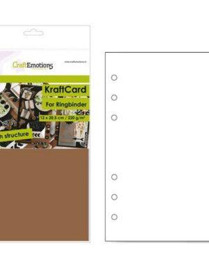 CraftEmotions karton kraft Ringband bruin 12 vel 12×20,5cm – 220 gr – 6 Ring A5