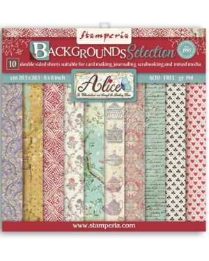 Stamperia Alice Backgrounds 8×8 Inch Paper Pack (SBBS46)