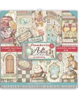 Stamperia Alice Through the Looking Glass 6×6 Inch Paper Pack (SBBXS02)