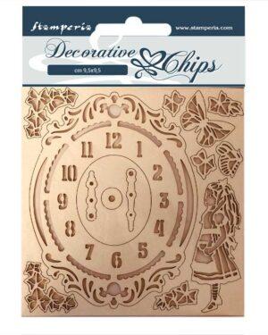 Stamperia Decorative Chips Alice Clock (SCB74)