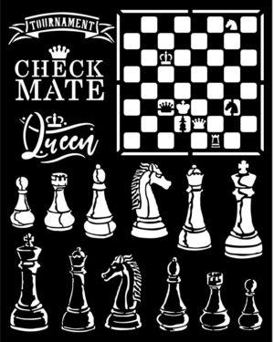 Stamperia Thick Stencil 20x25cm Alice Check Mate (KSTD089)