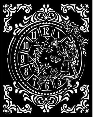 Stamperia Thick Stencil 20x25cm Alice Clock (KSTD090)