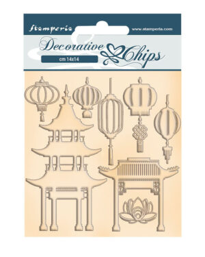 Stamperia Decorative Chips Sir Vagabond in Japan Pagoda and Lamps (SCB93)