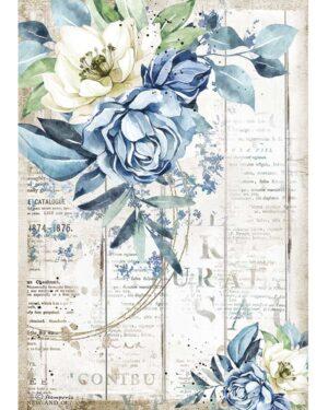 Stamperia Rice Paper A4 Romantic Sea Dream Blue Flower (DFSA4560)