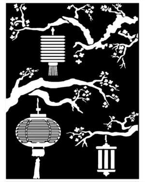Stamperia Thick Stencil 15x20cm Sir Vagabond in Japan Lanterns (KSAT20)