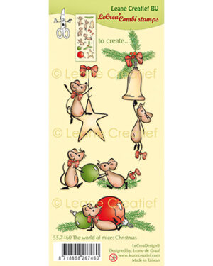 Leane Creatief 557460 – Combi clear stamp The world of mice Kerst