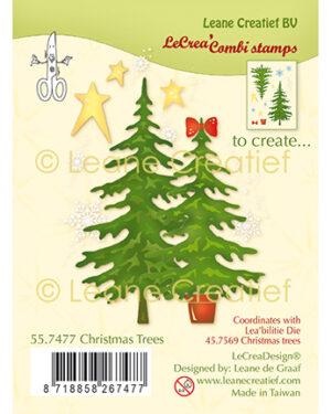 Leane Creatief 557477 – Combi clear stamp Kerstbomen