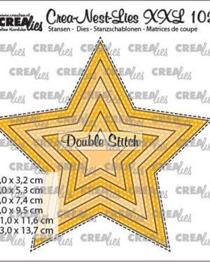 Crealies Crea-nest-dies XXL Ster met dubbele stiksteeklijn (6x) CLNestXXL102