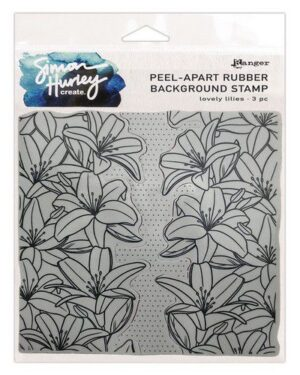 Ranger SH Cling Rubber Background Stamp 6×6 Lovely Lilies